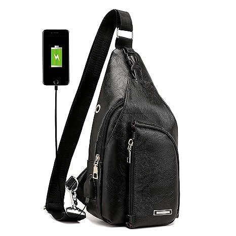 e5a1ace7a493 Men's Sling Bag Multipurpose Pack Shoulder Crossbody Chest Bag with USB  Charging Port Black