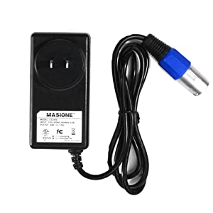 Masione 24V 1.5A Scooter Charger Power Supply w/ XLR 3-prong Male Connector for Bladez, Currie, GT, IZIP, LASHOUT, Mongoose, Schwinn