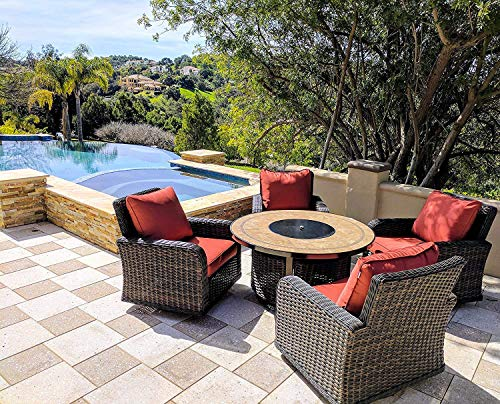 Kinger 5 Piece Round Propane Gas Fire Pit Table Patio Conversation Set, Red Outdoor Cushions Rattan Wicker Outdoor Furniture Patio Rocking Chairs, 50 Inch Stone Tile Top Deck LP Fire Pit Table