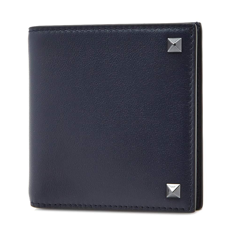 [ヴァレンティノ] [VALENTINO] メンズ ロックスタッズ 二つ折り財布 ネイビー [並行輸入品] B07GNSKZ5F  One Size