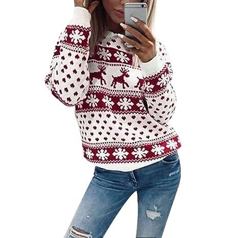 Jiamins Navidad Ropa Mujer – Copo de Nieve Ciervo Print algodón Sudaderas Jersey Sudadera, 4