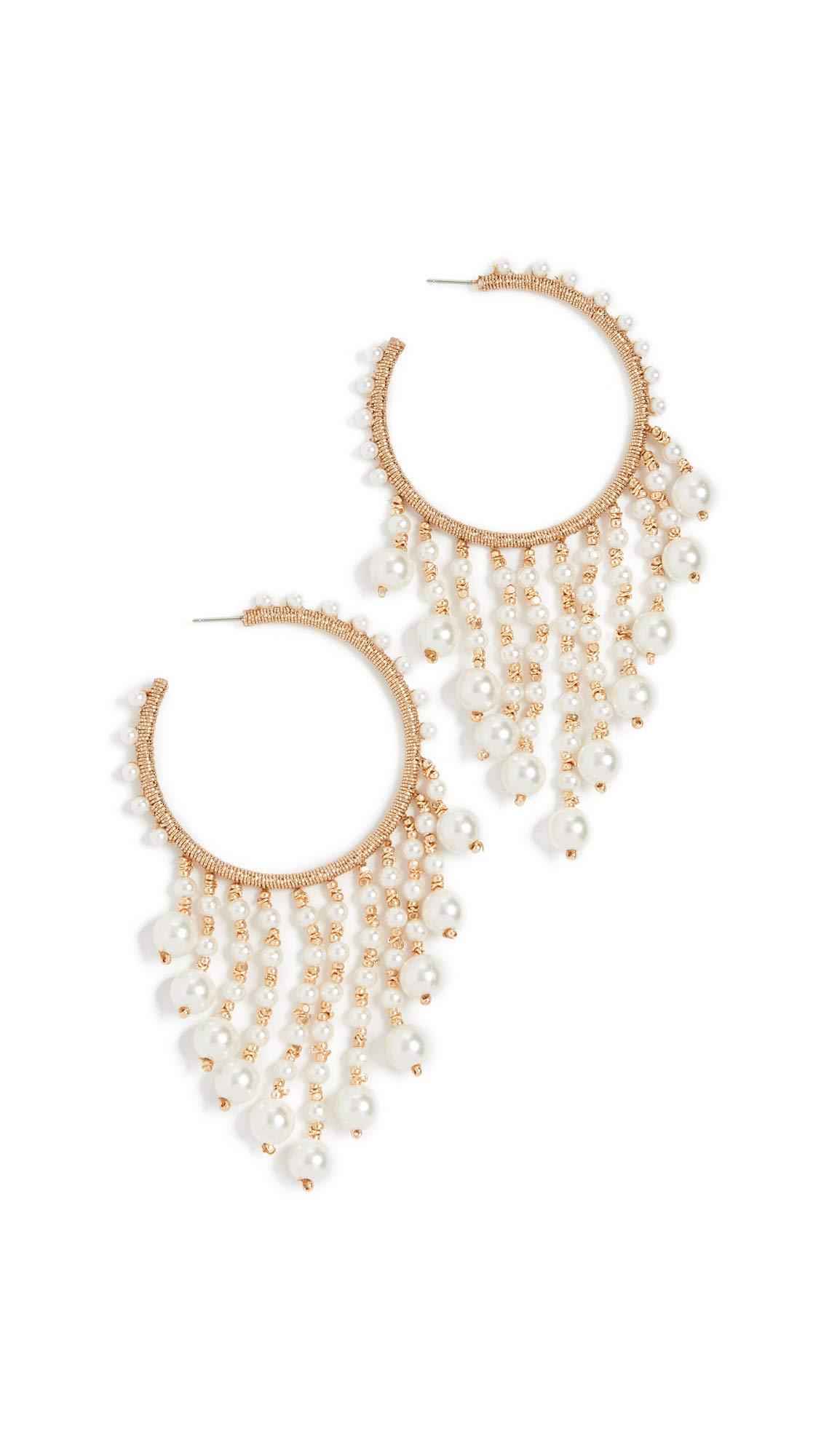 Oscar de la Renta Women's Hoop Earrings with Drop Beading, White, One Size by OSCAR DE LA RENTA