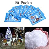 SAP Magic Instant Fake Fluffy Snow Powder for Cloud Slime,Cloud Creme Slime, Cloud Dough,Slime Making kit,Christmas Wedding Decoration- Looks and Feels Like Real Snow (20pcs)