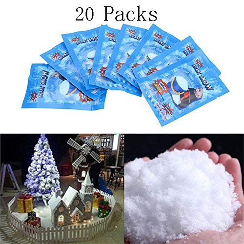 SAP Magic Instant Fake Fluffy Snow Powder for Cloud Slime,Cloud Creme Slime, Cloud Dough,Slime Making kit,Christmas Wedding Decoration- Looks and Feels Like Real Snow (20pcs) by Kinsde