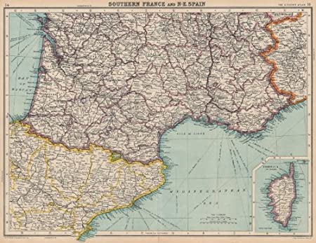 South Of France Map Detailed.France South North East Spain Catalonia Catalunya Aquitaine