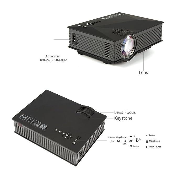 Uvistar-UC46 1200 Lúmenes, HD 1080P LED WIFI MINI Proyector de ...