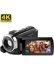 """4K Camcorder,RegeMoudal Videocamera WiFi,24MP 16x Zoom Touchscreen Capacitivo Visione Notturna a Raggi Infrarossi 3,0 """" Schermo LCD 270 °Rotazione Nero"""
