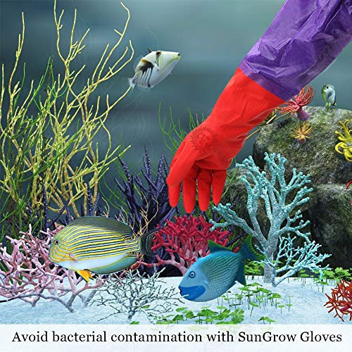 """SunGrow Aquarium Water Change Gloves - Keep Hands & arms Dry, Contamination-Free - Ensures Regular Fish Tank Maintenance - Elastic Forearm Seals & Prevents leaks (Long 19"""") from SunGrow"""