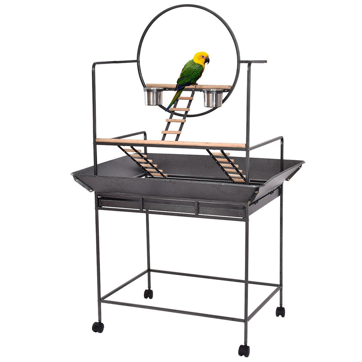 Giantex Parrot Play Stand Bird Cage Gym Perch with Play Ring Ladders and Feeding Cups Rolling Casters PS6993