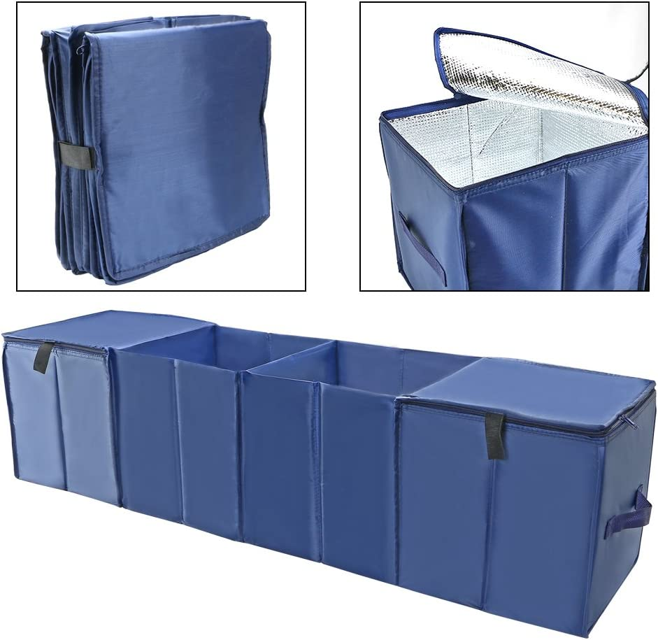 Portable Cargo Carrier Caddy Oxford Cloth Insulated Cooler Waterproof Storage Folding Bag Luxcathy Trunk Organizers with 4 Compartments for Car