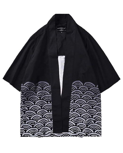 Hombres Imprimir Kimono Rayas Retro Rebeca Camisa Playa Chaqueta Manga 3/4