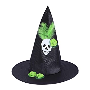 ab0289285f8 AMOSFUN Wizard Hats Feather Skull Pattern Witch Hat Party Hat Halloween  Costumes Halloween Party Props Cosplay