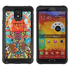 Hybrid Anti-Shock Defend Case for Samsung Galaxy Note 3 / Cool Psychedelic Pattern