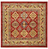 Unique Loom Sahand Collection Traditional Geometric Classic Red Square Rug (4′ x 4′) Review