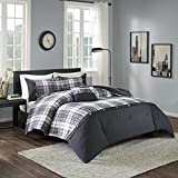 Comfort Spaces - Asher Comforter Set - 3 Piece - Black - Multi-Color Plaid - Perfect For College Dormitory, Guest Room - Twin/Twin XL Size, includes 1 Comforter, 1 Sham, 1 Decorative Pillow
