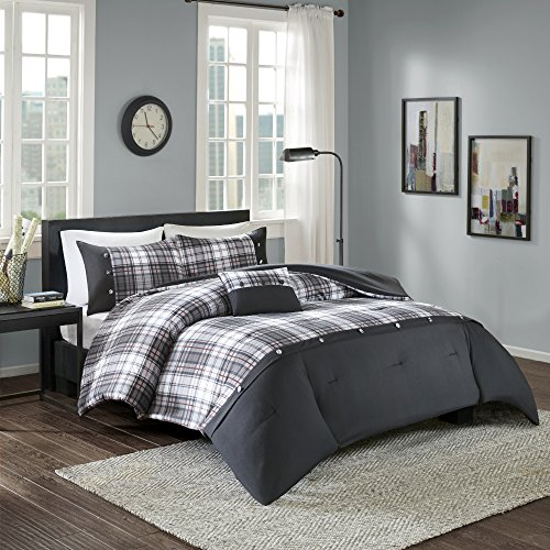 Comfort Spaces - Asher Comforter Set - 3 Piece - Black - Multi-Color Plaid - Perfect For College Dormitory, Guest Room - Twin/Twin XL Size, includes 1 Comforter, 1 Sham, 1 Decorative Pillow (Xl Bedding Plaid Twin)