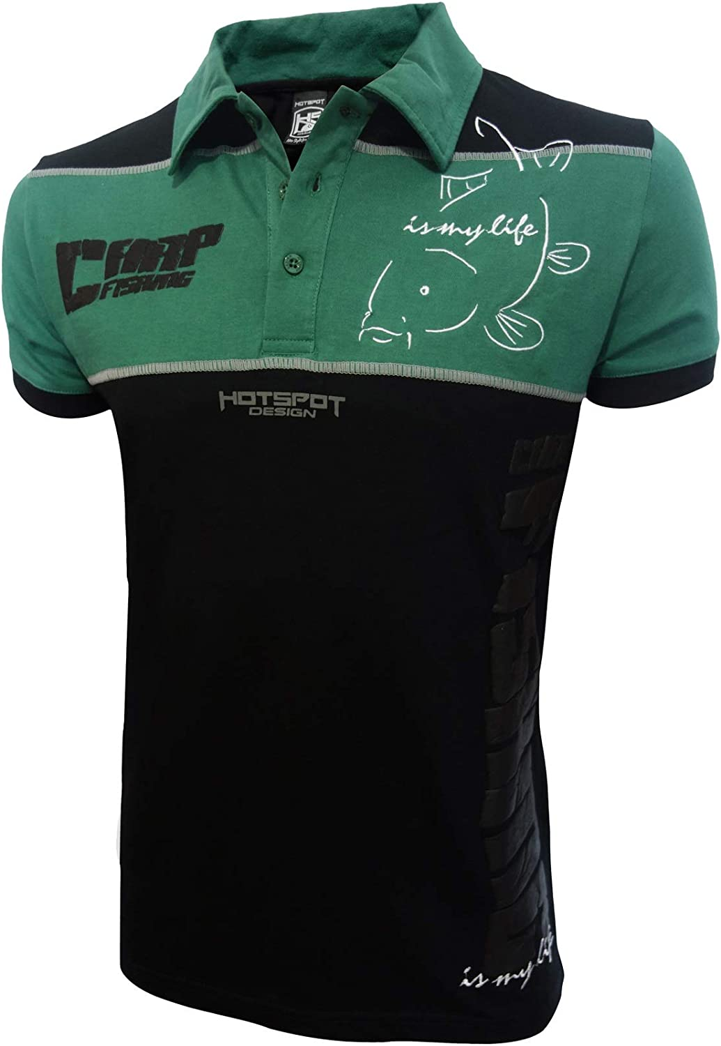 HOTSPOT DESIGN Polo Carpfishing Eco 2.0, Color Negro Verde, Pesca ...