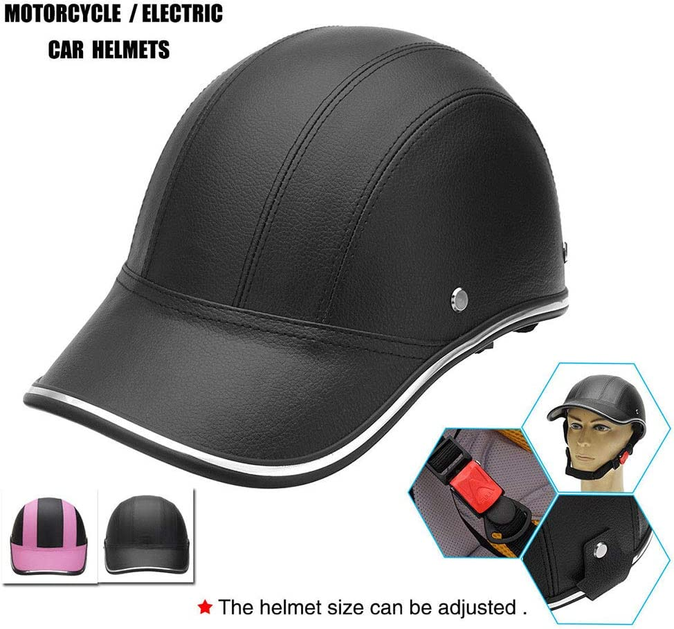 Majome PU Leather Motorcycle Half Face Helmet Baseball Cap For Biker Horse Rider
