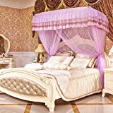 Luxury Three Door Bed Folding Tent Bed Curtains Retractable Bedroom Decoration Curtains (Purple, 5 Feet)