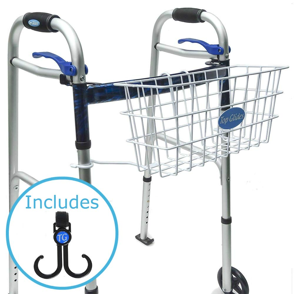 BUNDLE: Premium Clip-on Walker Basket with FREE Carry-All Hooks ($10 value) by Top Glides