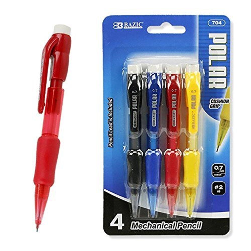 4-Pack Mini 0.7mm Mechanical Pencils Rubber Grip, Eraser by Bazic