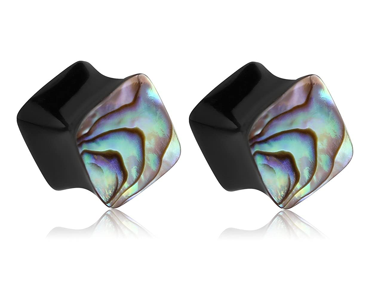 Holy Plug Body Piercing Jewelry Pair of 2 Horn Double Flared Square Plug With Paua Shell Inlay 000g 0000g 9//16 5//8 6g 2g 0g