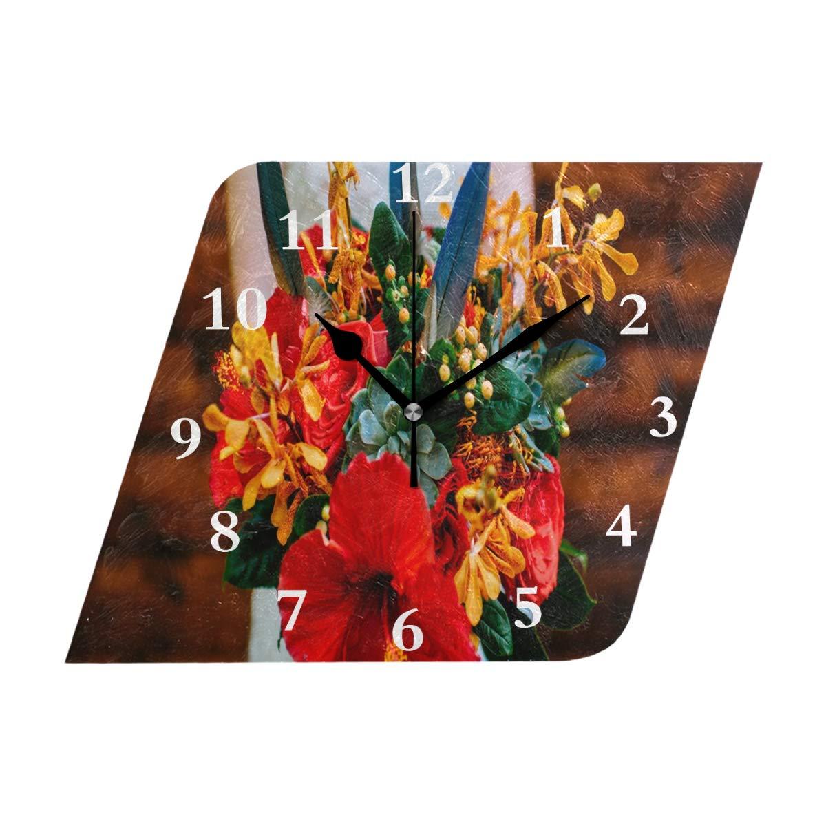 HU MOVR Wall Clock Vintage Summer Exotic Flowers Silent Non Ticking Decorative Diamond Digital Clocks Indoor Outdoor Kitchen Bedroom Living Room