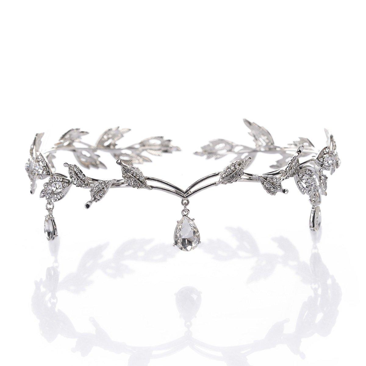 Remedios Elegant Rhinestone Leaf Wedding Headpieces Headband Bridal Tiara Crown, Rose Gold LWCAHG160038C1007