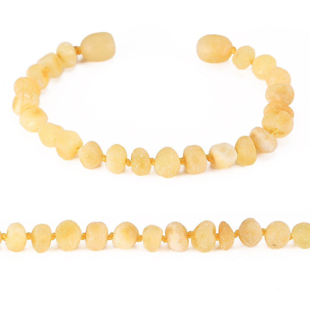 Baltic Amber Bracelet(Unisex)(Butterscotch Raw)(5.5 Inches) - Knotted Between Beads - Handmade Jewelry: Beauty