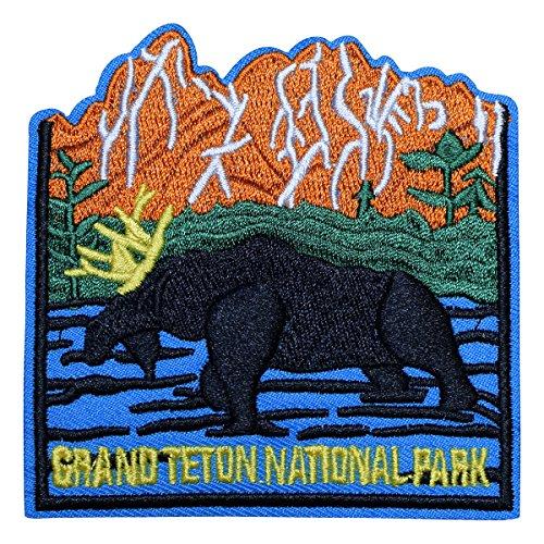 Grand Teton National Park Patch - Moose, River, Mountains (Iron (Park Moose)