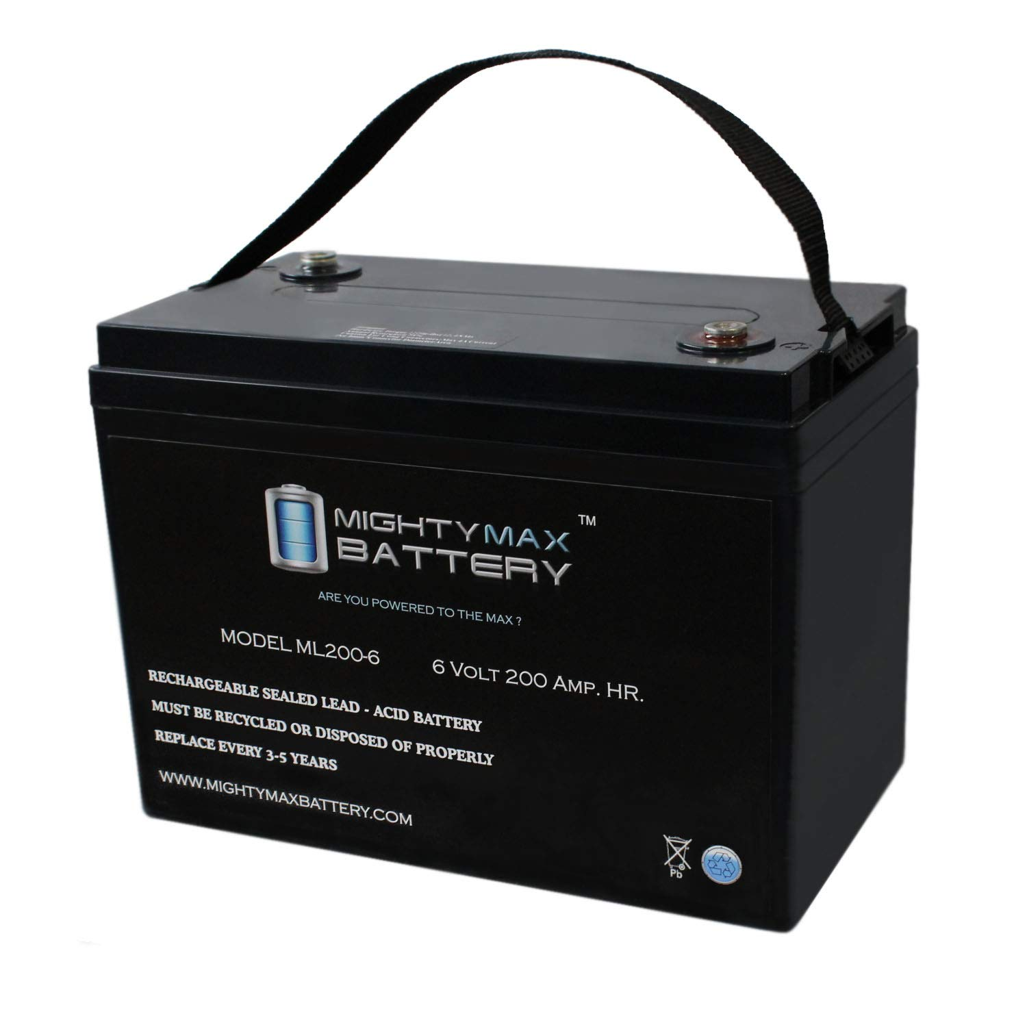 Mighty Max Battery 6V 200AH SLA Battery Replaces Camper Golf Cart RV Boat Solar Wind Brand Product by Mighty Max Battery