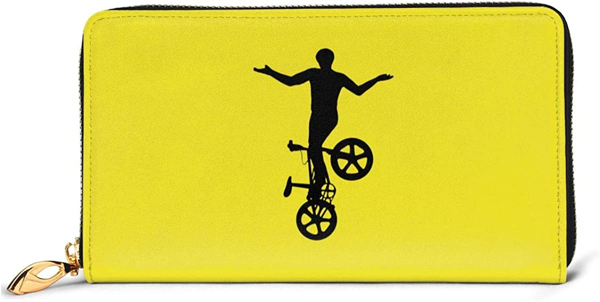 BMX Silhouette Women Leather Long Zipper Wallet Hand Purse