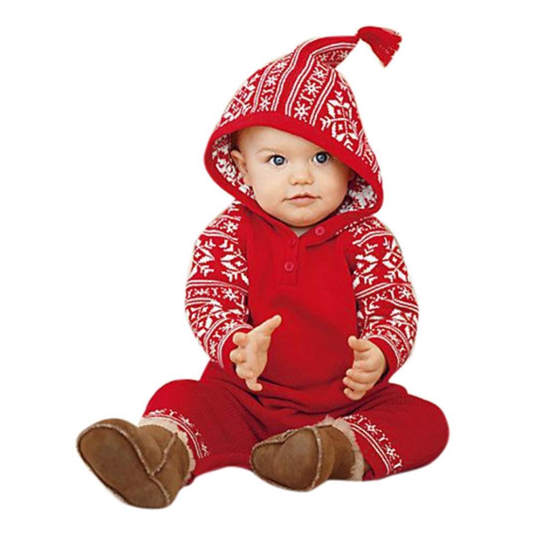 Weihnachten Babykleidung, Honestyi Neugeborenes Baby Girls Boy Weihnachten Fransen Hoodies Druckanzug Overall Pyjamas Outfits (Rot, 6M/70CM)