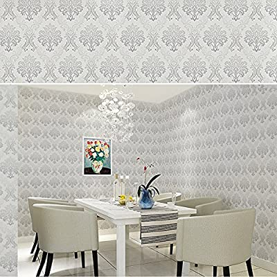SimpleLife4U Vintage Gray Damask Bedroom Removable Wallpaper for Walls Self Adhesive Wallpaper Roll Peel and Stick Valentine's Day Gift