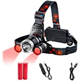 Head Torch Red Lighting LED Headlamp 4 Modes,Waterproof Adjustable Hands-free Torch Super Bright for Camping, Reading, Fishing, Cycling, Running, Walking, Power Supplied by Rechargeable 18650 Batteries - Included (AU Stock)