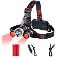 Head Torch Red Lighting LED Headlamp 4 Modes,Waterproof Adjustable Hands-free Torch Super Bright for Camping, Reading…