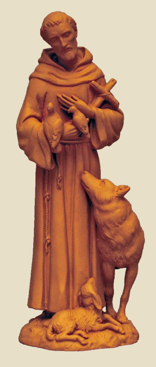 GSV001 St. Francis in terracotta made in Italy, 6 inches.