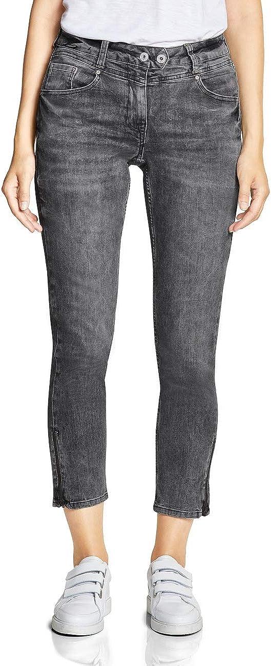 Cecil Damen Slim Jeans Grey Used Wash