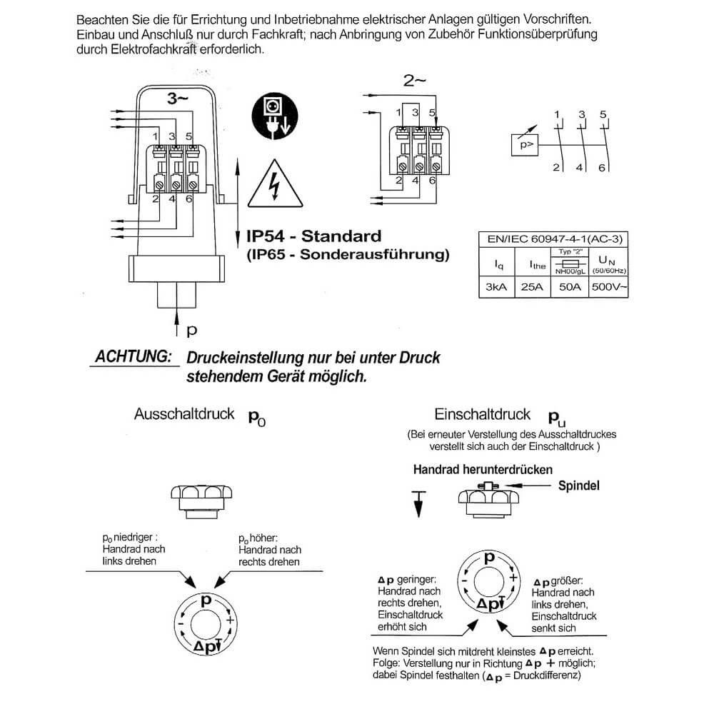 Turbo Speck Druckschalter Condor MDR 5/5 3-polig 1,5/2 / 3/4 / 5 bar SJ63