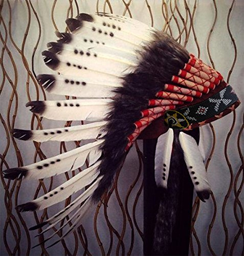 [Three colors Black & White indian Feather Headdress american Style Warbonnet] (Halloween Indian Headdress)
