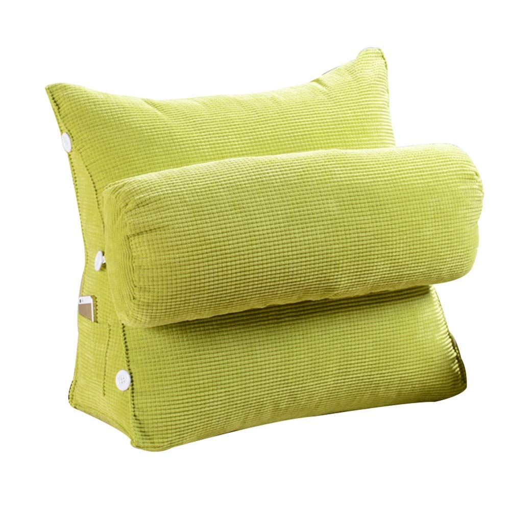 LIXIONG Bed Backrest Cushion Triangular Wedge Sofa Headrest Soft Cover Support Reading Pillow Waist Protection Synthetic Fiber,2 Size,4 Colour (Color : Green, Size : B-60x22x50cm)