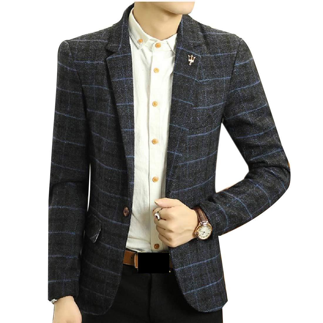 Doufine Men's Plaid Outwear Tops One Button Wool Blend Business Blazer