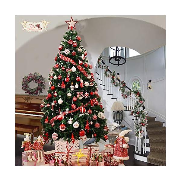 Valery Madelyn Palle di Natale 100 Pezzi di Palline di Natale, 3-5 cm Decorazione Tradizionale Rossa e Bianca Infrangibile con Palle di Natale per la Decorazione Dell'Albero di Natale 7 spesavip