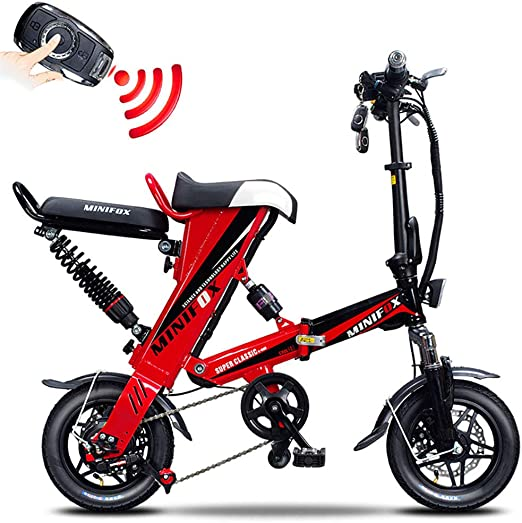 Bicicleta electrica Bicicleta Plegable Unisex Acero de Alto Carbono Bicicleta de Ruedas de 12