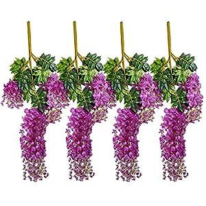 Supla 12 Piece Artificial White Silk Faux Wisteria Vine Ratta Silk Hanging String Flower Fake Flower Arrangements Bridal Home DIY Floor Garden Office Wedding Décor 88