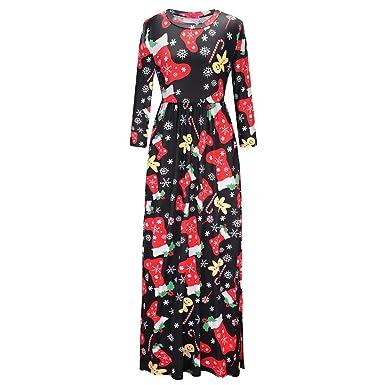 SINARU Christmas Dress,Womens Casual Print Evening Party Prom Dress Maxi Dress