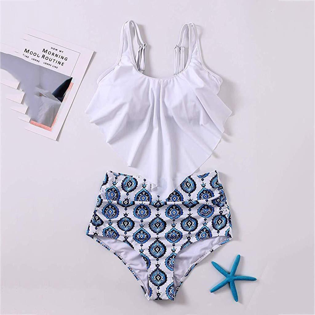 Bikini for Women High Waisted Swimsuits Tummy Control Two Piece Tankini Ruffled Top with Swim Bottom Bathing Suits