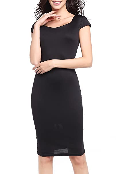 7fda08d8 YMING Women's Summer Cap Sleeve Floral Print Knee Length Bodycon Office Sheath  Dress