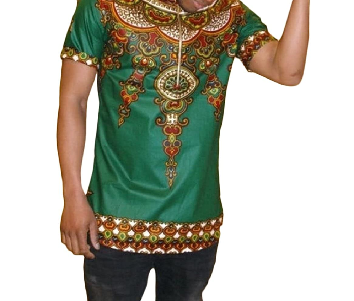 Tingwin Men Stylish Dashiki Crew Neck Floral Printed Short-Sleeve Tees T-Shirt