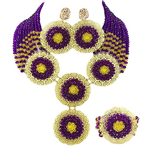 aczuv African Beads Jewelry Set 2017 Nigerian Wedding Necklace and Earrings for Women (Purple ()